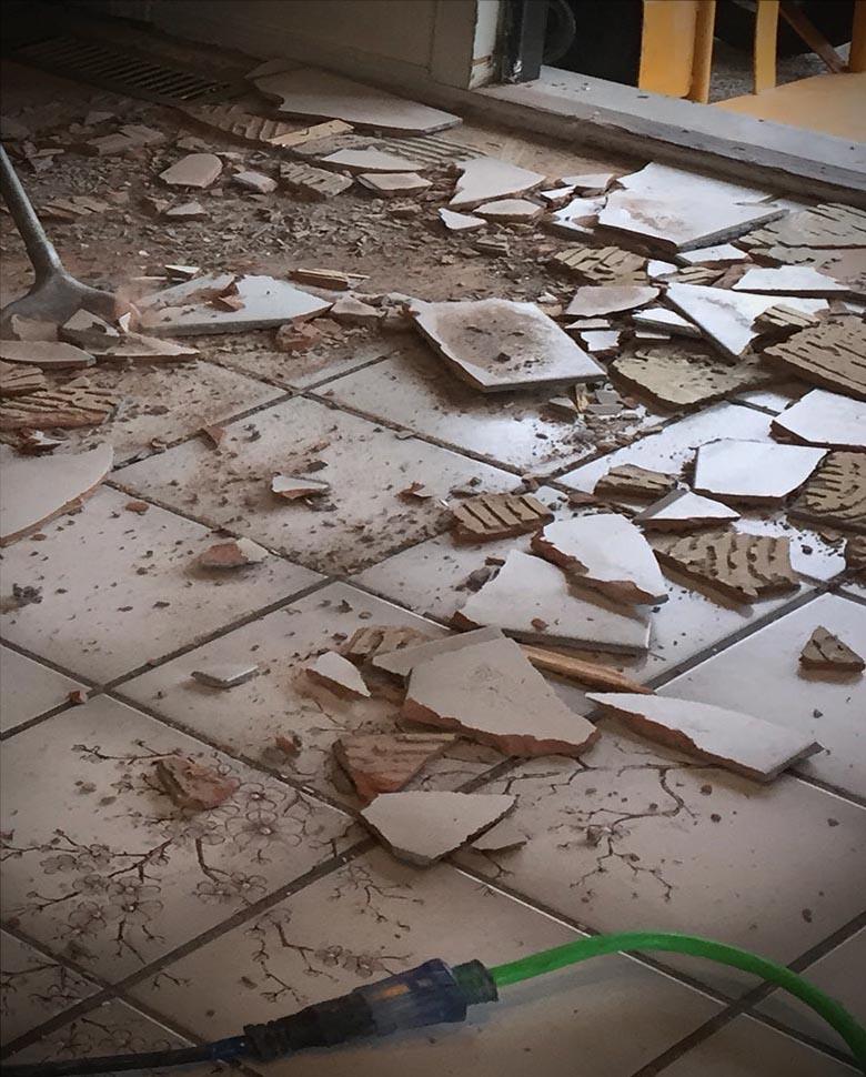 tile floor demolition